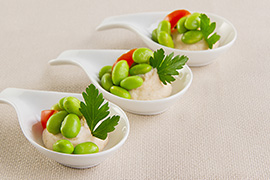 Edamame spoons with shrimps mousse