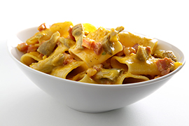 Paccheri carbonara with grilled artichokes wedges