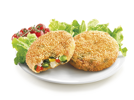 Mini Burger with Veggies and a crunchy breadcrumbs