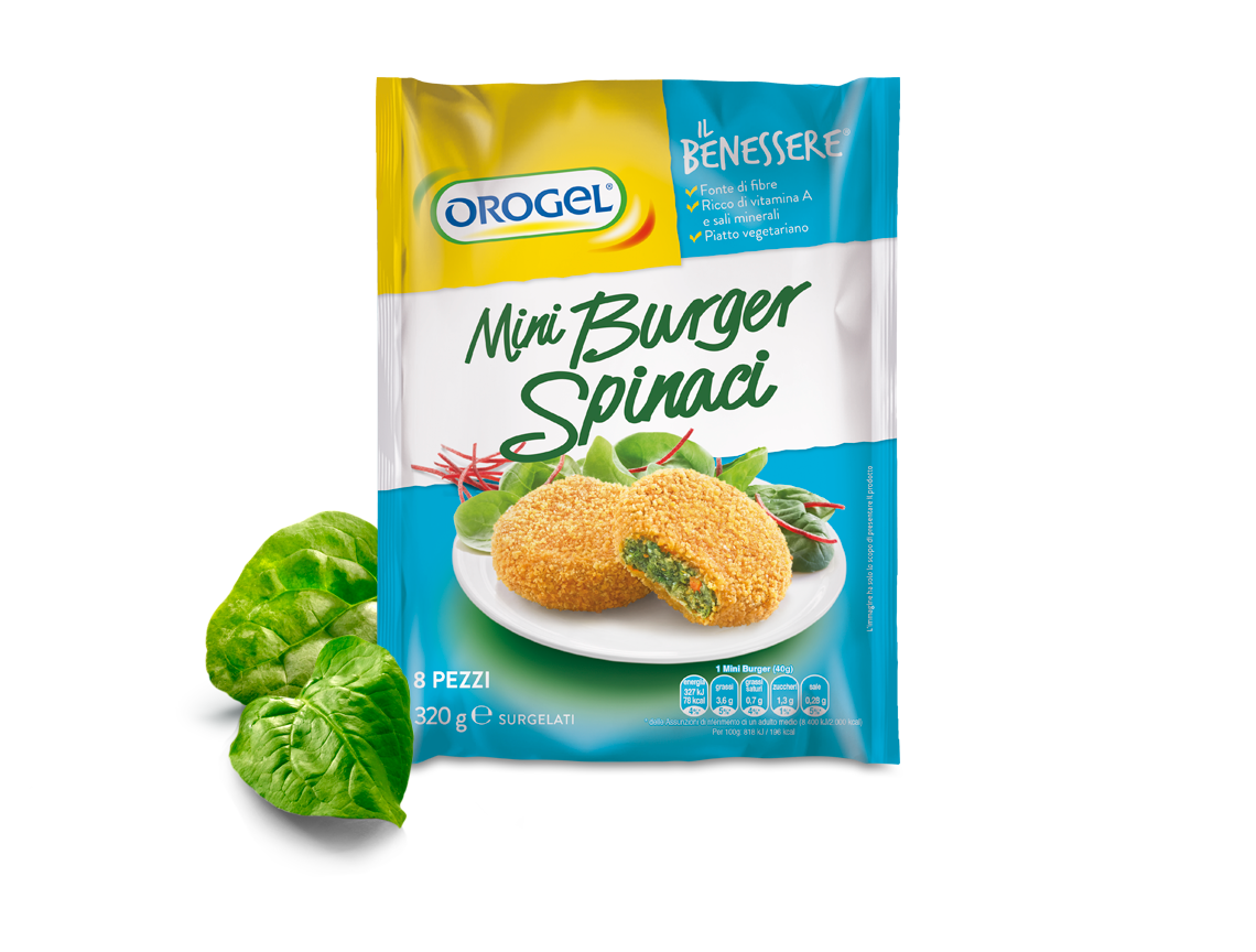 Mini Burger with spinach and a crunchy breadcrumbs