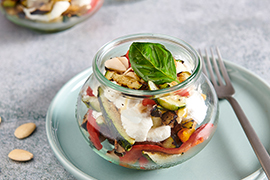 Terrine with grilled vegetables, ricotta and almond pesto